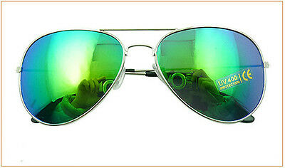 New Retro Aviator Sunglasses Eyewear Mirrored Lens Blue-green Sunglasses J