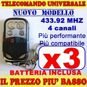 AUTOAPPRENDENTE-MHZ-TELECOMANDO-433-CANCELLO-3-GARAGE-PER-FAAC-CAME-FADINI-be
