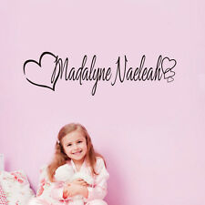 Personalized Name Hearts Removable Vinyl Wall Decals Sticker For Girl Kids Room