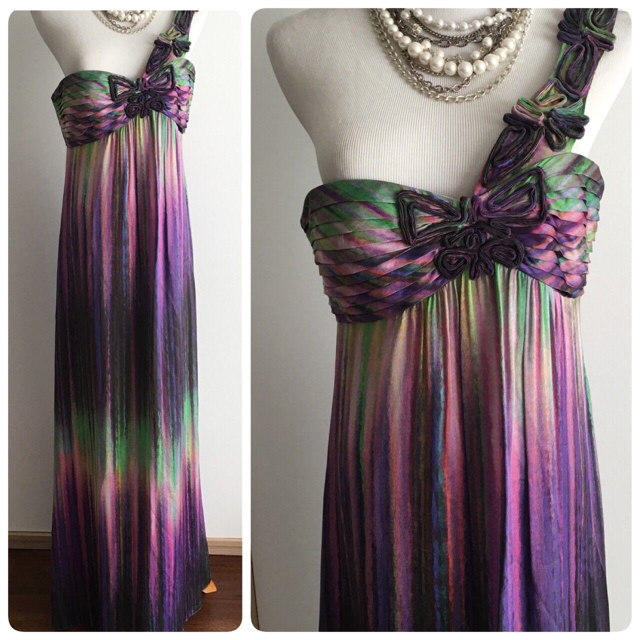 Bcbg maxazria 8 lila maxi dress one shoulder gradient Farbe silk prom cocktail