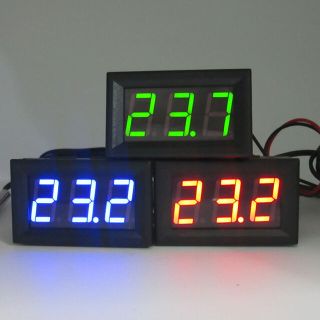 DC 12V 24V Digital Red LED Thermometer Temperature Meter NTC Thermistor Probe