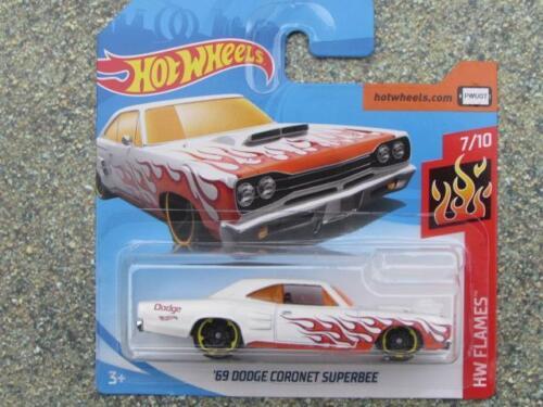 Hot Wheels 2018 #086/365 1969 Dodge Coronet Super Bee Weiß Hw Flammen Autos