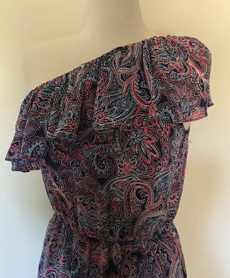 NEW PARKER Beverly Ruffled One shoulder  DRESS SIZE SIZE SIZE S (4-6 )  398 PAISLEY PRINT 56f75b
