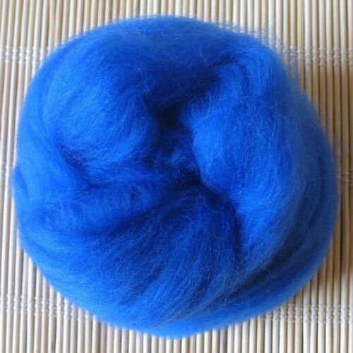 100 g Merino lana cardada 64 de teñido de fibras-Royal Blue-se siente hacer Y Spinning