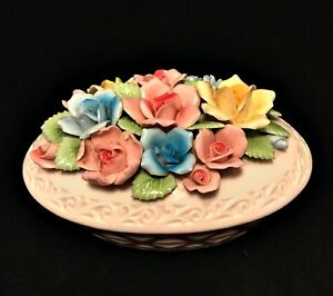 Trinket-Bowl-with-Lid-Applied-Flowers-Pearl-Porcelain-Japan-7-inches-Long