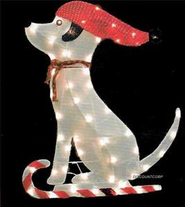 image is loading 36 034 glistening tinsel fabric dog lighted outdoor - Outdoor Lighted Dog Christmas Decorations