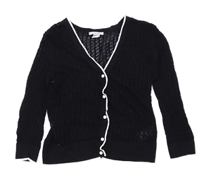 H-amp-M-Womens-Size-S-Cotton-Blend-Black-Cardigan-Regular