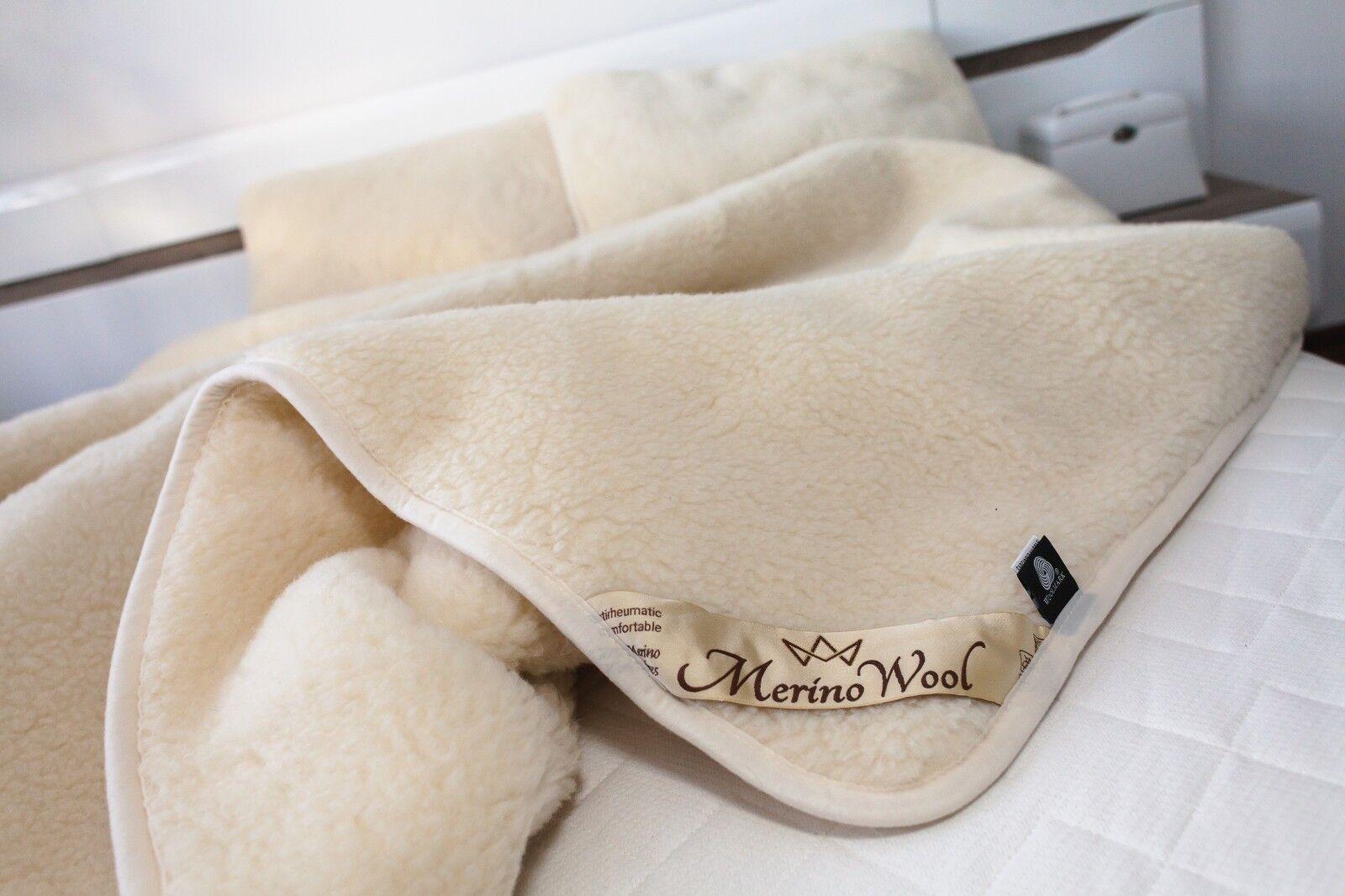 SALE Set 100% Merino Wool Over blanket Duvet Double Bed Größe +2 PILLOWS 45 75cm