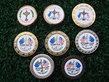 Juego de 8 Marcadores De Bola De Golf De Metal Coleccionable X-Copa Ryder de 1987 a 2004