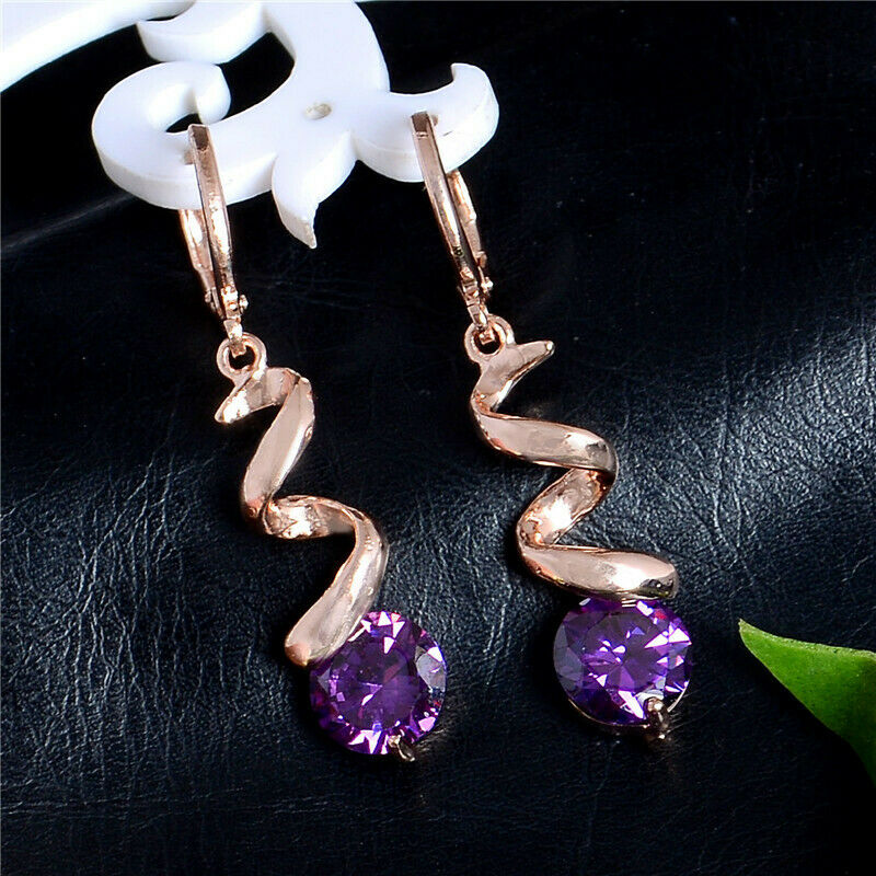 14k pink gold Over 3.00Ct Round Purple Amethyst Women Party Drop Dangle Earrings