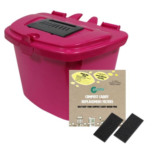 7 Litre Pink Kitchen Compost Caddy Food Bin /& 1 X Pack De 2 Filtres