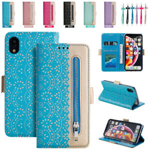 For-iPhone-X-XS-MAX-XR-Lady-Lace-Zipper-Leather-Wallet-Card-Slot-Flip-Case-Cover