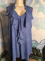 Siren Lilly Plus 1x Blue Ruffle V-neck Sheer Round Hem Sleeveless Tunic Top