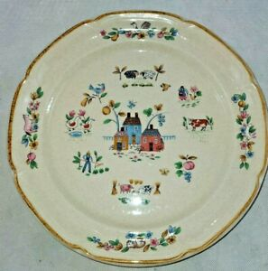 2-International-Heartland-Pattern-7774-10-3-4-034-Stoneware-Dinner-Plates-Farm