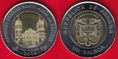 Panama coins new issue 1 balboa 2018-2019 year Basílica Santa María