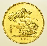 SCARCE 1887 FIVE POUNDS £5, BRITISH GOLD COIN FROM VICTORIA GEF