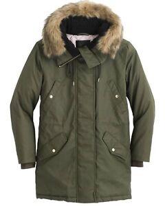 caee358fb85 New J Crew Perfect Winter Parka W Faux Fur Trim Wild Olive  350 Sz ...