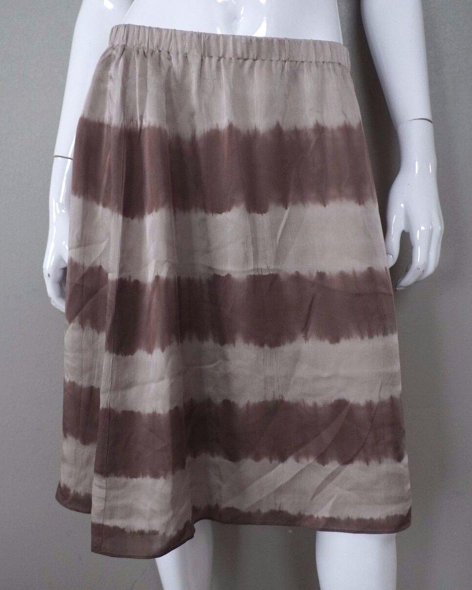 THE FISHER PROJECT Eileen Beige Tie Dye Striped Mocha A Line Silk Skirt S