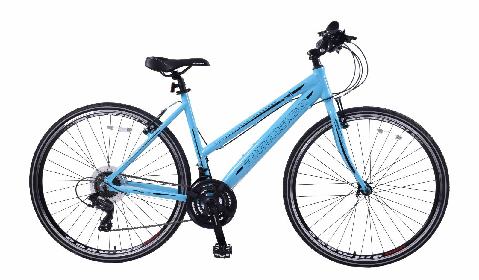 AMMACO CS300 WOMENS HYBRID SPORTS BIKE 700C WHEEL 21 SPEED ALLOY 16  FRAME blueE