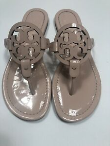 Tory Burch NEW Miller Sea Shell Pink Patent Leather Logo Flat Sandals SZ 11