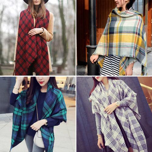 Women Outdoor Large Size Plaid Tartan Scarf Wrap Casual Shawl Warm Blanket Scarf