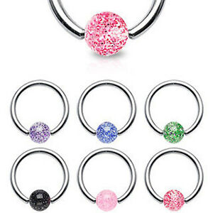 Surgical-Steel-Captive-Glitter-Ball-Ring-Lip-Nose-Belly-Bar-Nipple-Ring