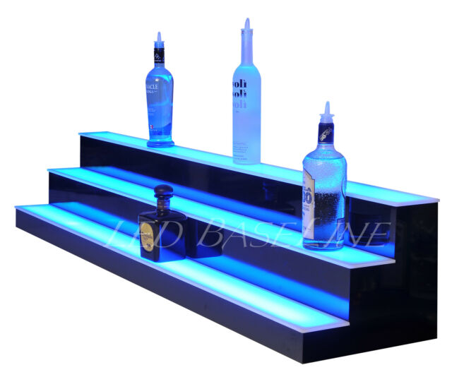 60 Lighted Bar Shelf 3 Steps Led Liquor Bottle Glorifier Back