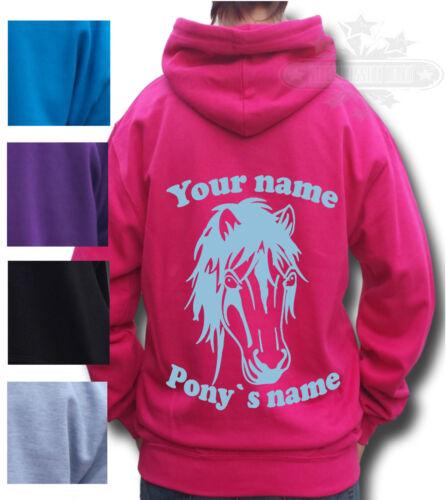 cappuccio Felpa personalizzata adulti per Native con bambini e Pony Horse 55xwBrR
