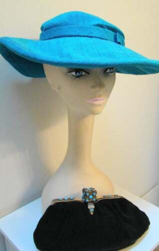 Vintage LILLY DACHE Turquoise Picture Hat!