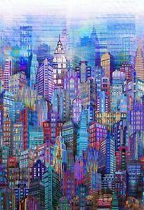 Hoffman Digital Spectrum Print Fabric Skylines Cityscape N4234-7 Blue BTY