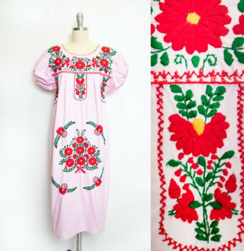 1970s Mexican Wedding Dress Embroidered Cotton L