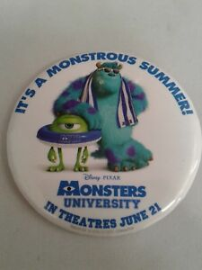 Disney-Monsters-Inc-It-039-s-a-Monstrous-Summer-Mike-Sully-Button