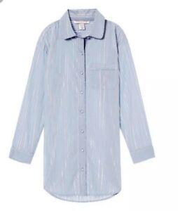 e14679efe92 Details about Victoria's Secret Lightweight Button Front Sleepshirt ~ Medium