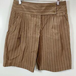 BCBGMAXAZRIA-Shorts-Size-6-Dressy-Bermuda-Brown-Pinstripe-Cotton-Stretch