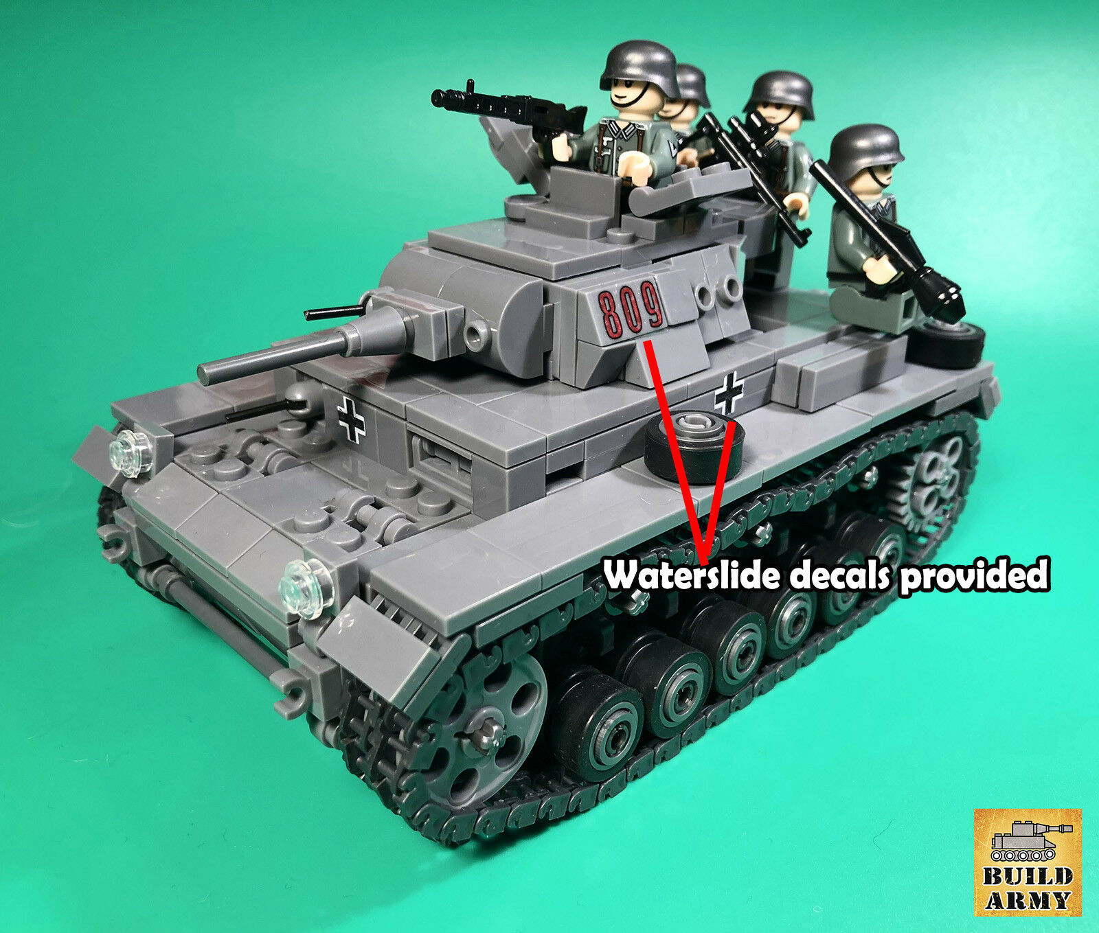 WW2 German Panzer tank MOC full set+instruction by Buildarmy®+free Buildarmy®+free by Lego panel 97cdfc
