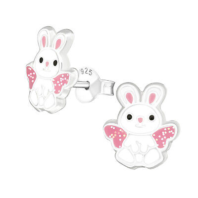 Children/'s Sterling Silver .925 pink crystal bunny rabbit earrings Gift box