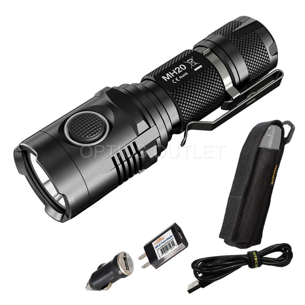 Nitecore MH20 compact 1000 lm USB Rechargeable DEL Lampe de poche & Adaptateurs