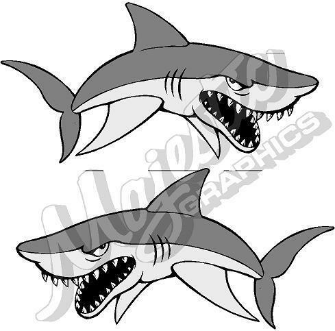 BOAT DECALS 550mm x 270mm X 2 SHARKS