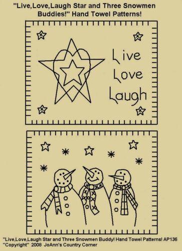 "Laugh Star /& Three Snowman Buddies!/"" Love Primitive Stitchery Pattern,/""Live"