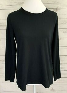 Sonoma-Top-Womens-Medium-M-Black-Solid-Long-Sleeve-Stretch-Cotton-Blend