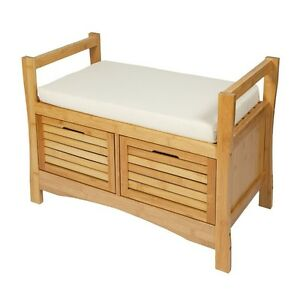 Wooden Storage Bench With Cushion Seat 2 Drawers Boxes