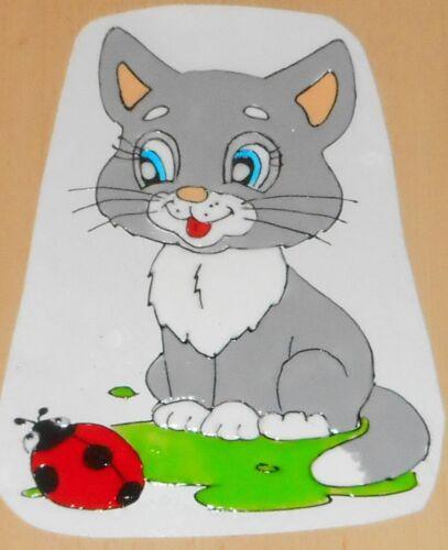 Elas Fensterbilder Niedliche Katze mit Marienkäfer  *