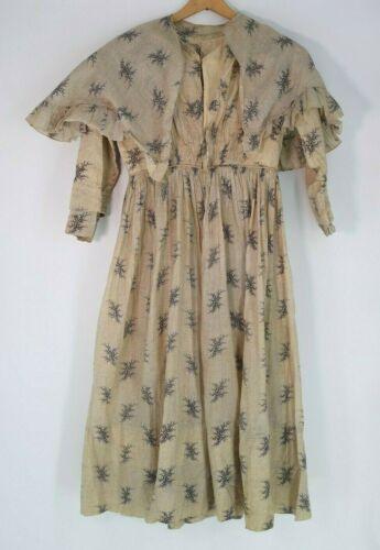 Victorian 1860's Original Cotton Floral Dress w Ma