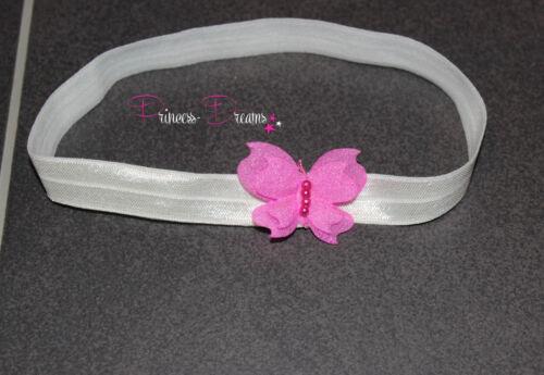 Princess-Dreams Mädchen Baby Haarband Taufe rosa grau Fotografie Schmetterling