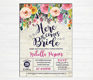 a9426fcaa22 Image is loading Floral-BRIDAL-SHOWER-Invitation-Rustic-Invite-Bohemian- Flowers-