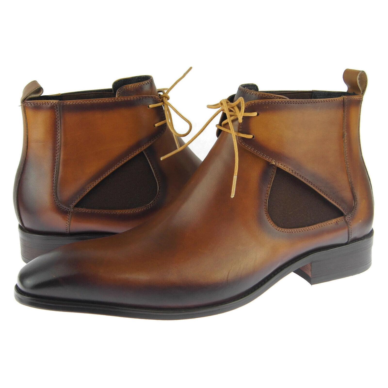 Carrucci Chelsea Chukka con cordones, botas al Tobillo Para Hombre De Cuero, Coñac