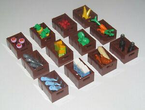 Lego-Accessoire-Minifig-Caisse-du-Marchand-Legume-Fruit-Vegetable-Choose-Model