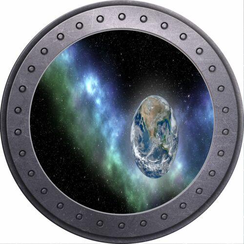 3D Porthole View Space Stars Moon Earth Planets Wall Sticker Poster M17-108