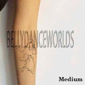 WORLD MAP TEMPORARY TATTOO ARM LEG WRIST FOREARM BODY ART WATERPROOF ...
