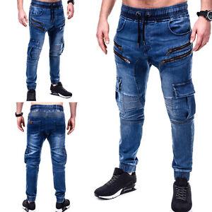 jogger jeans cargo hose jogginghose in jeans look biker. Black Bedroom Furniture Sets. Home Design Ideas